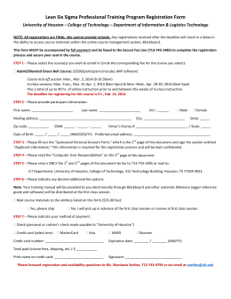 Lean Six Sigma Professional Training Program Registration Form