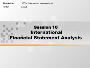 International Financial Statement Analysis Session 10 Matakuliah