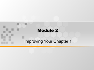 Module 2 Improving Your Chapter 1