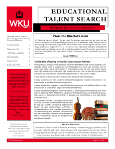 EDUCATIONAL TALENT SEARCH From the Director's Desk