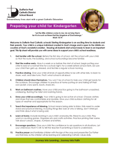 Preparing your child for Kindergarten Dufferin-Peel Catholic District School Board