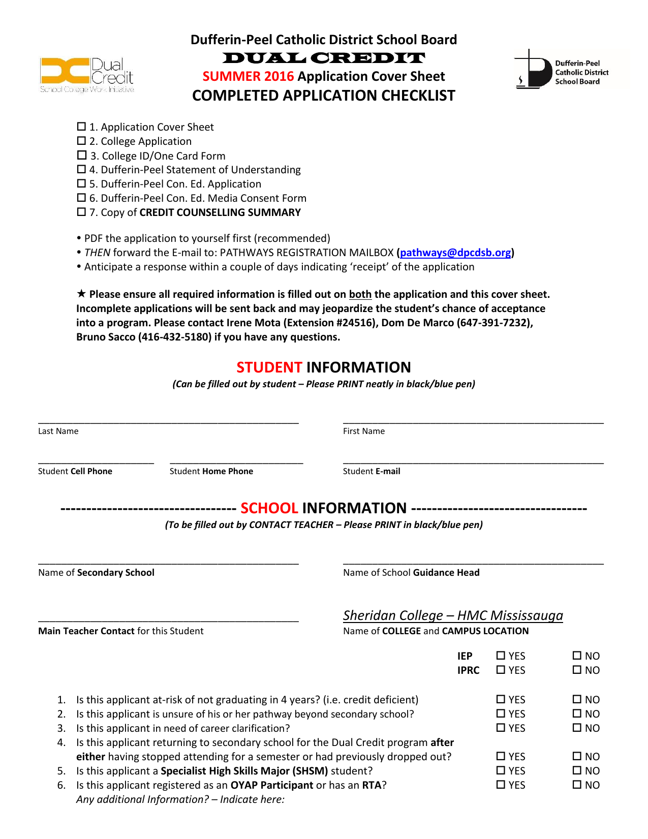 completed application checklist dufferin peel catholic district completed application checklist dufferin peel catholic district school board application cover sheet