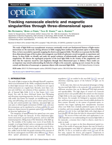 Tracking nanoscale electric and magnetic singularities through three-dimensional space N R