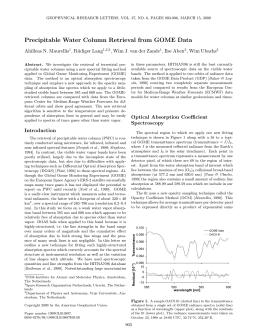 Precipitable Water Column Retrieval from GOME Data Ahilleas N. Maurellis , R¨