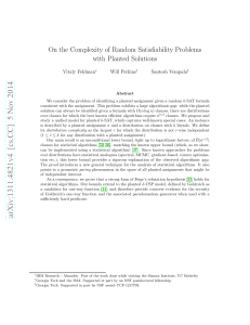On the Complexity of Random Satisfiability Problems with Planted Solutions Vitaly Feldman