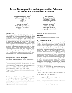 Tensor Decomposition and Approximation Schemes for Constraint Satisfaction Problems Ravi Kannan