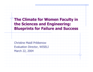 The Climate for Women Faculty in the Sciences and Engineering: