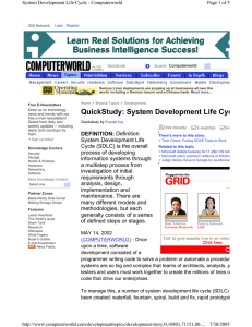 QuickStudy: System Development Life Cyc  Computerworld
