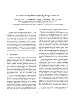 Automatic Grasp Planning Using Shape Primitives