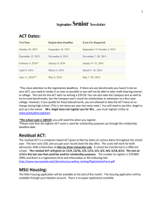 Senior ACT Dates: September Newsletter