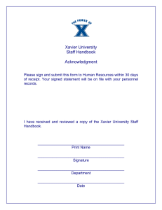 Xavier University Staff Handbook  Acknowledgment