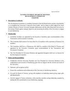 XAVIER UNIVERISTY BOARD OF TRUSTEES DEVELOPMENT COMMITTEE CHARTER 1.  Description of Authority