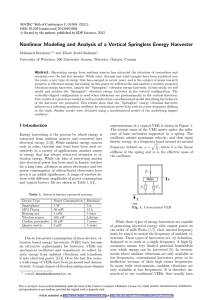 Nonlinear Modeling and Analysis of a Vertical Springless Energy Harvester