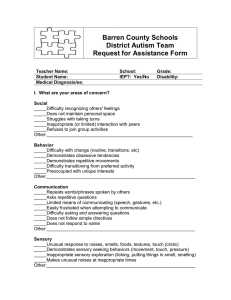 Barren County Schools District Autism Team Request for Assistance Form