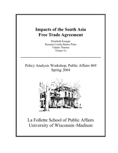 Impacts of the South Asia Free Trade Agreement University of Wisconsin–Madison