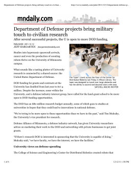 Department of Defense projects bring military touch to civilian ...