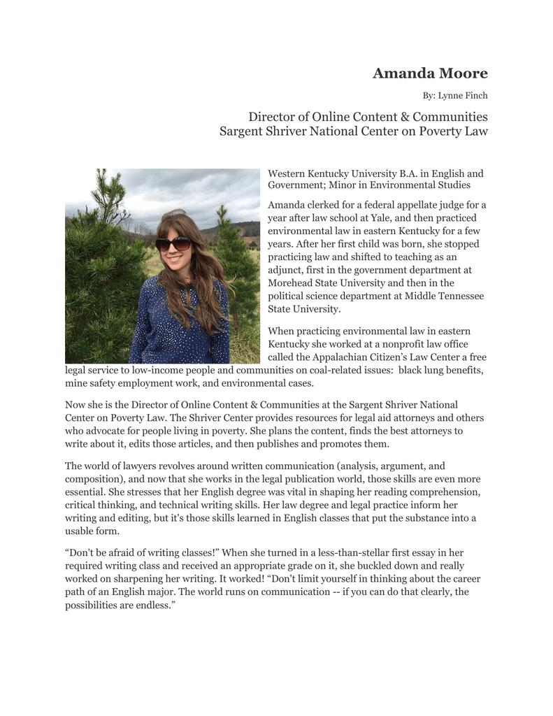 Amanda Moore Director of Online Content & Communities