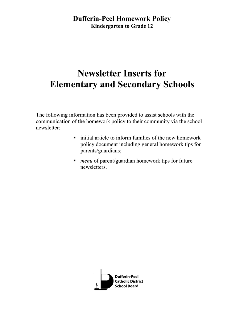 dufferin peel catholic school board homework policy