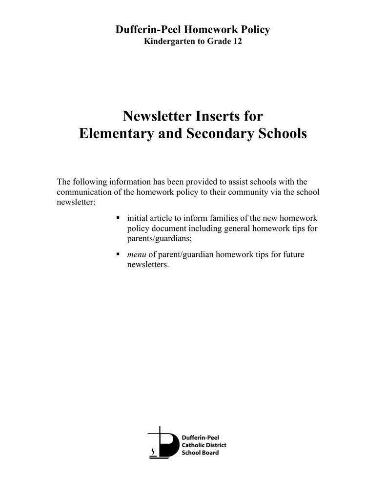 dpcdsb homework policy