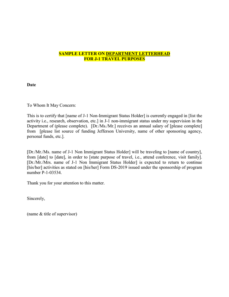 Sample letter on department letterhead for j 1 travel purposes date spiritdancerdesigns Images
