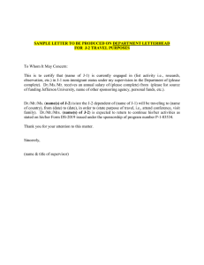 SAMPLE LETTER TO BE PRODUCED ON DEPARTMENT LETTERHEAD