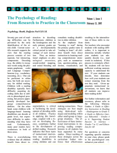 The Psychology of Reading: From Research to Practice in the Classroom