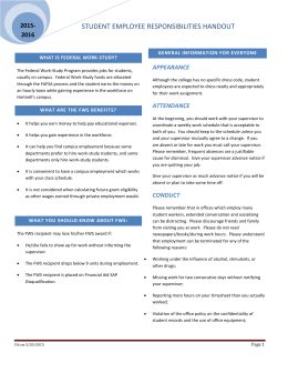 STUDENT EMPLOYEE RESPONSIBILITIES HANDOUT 2015- 2016 APPEARANCE