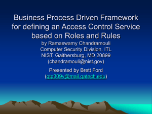 Business Process Driven Framework for defining an Access Control Service