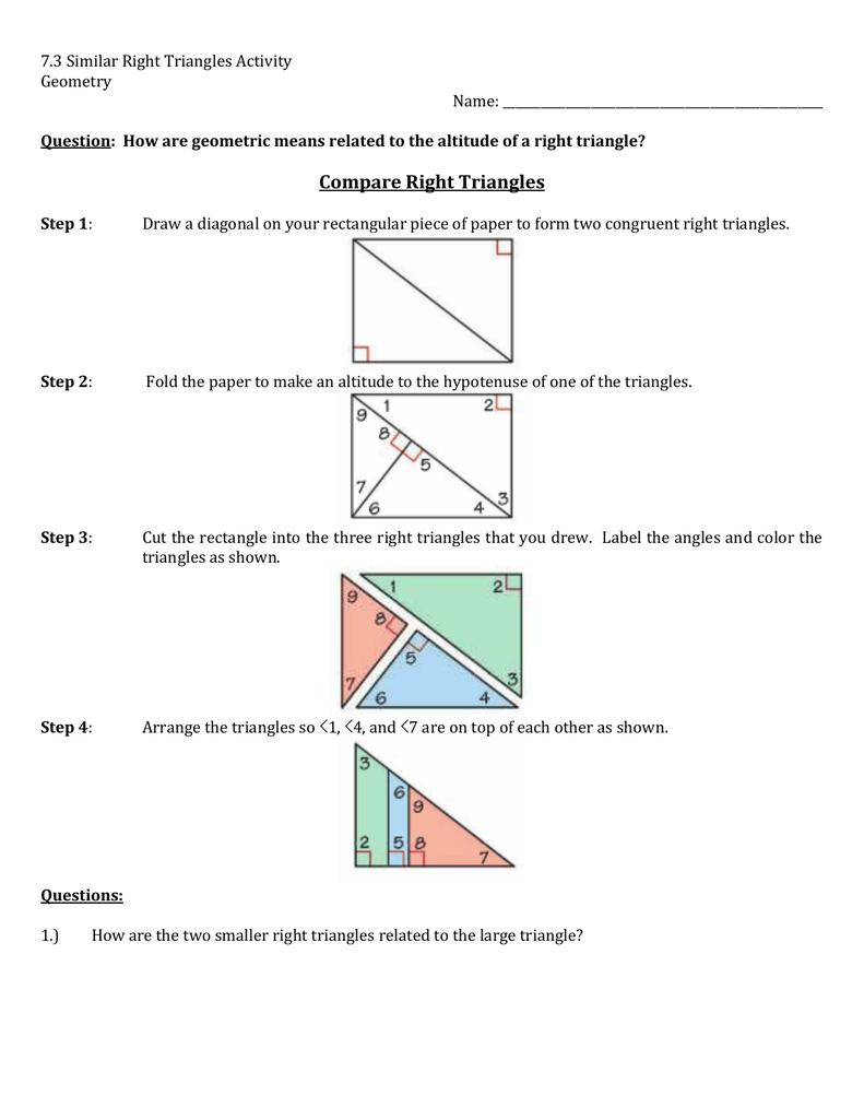7.3 Similar Right Triangles Activity Geometry Name: