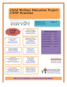 Ch ild Welfare Education Project CWEP Newsline CWEP