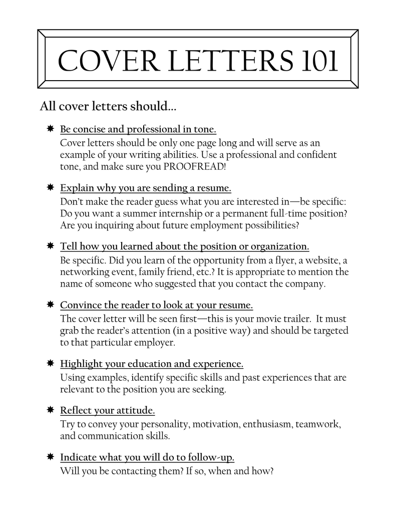 COVER LETTERS 101 All Cover Letters Should