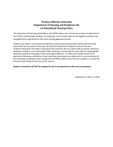 Thomas Jefferson University Department of Housing and Residence Life Co-Educational Housing Policy