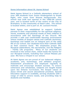 Some information about St. Agnes School
