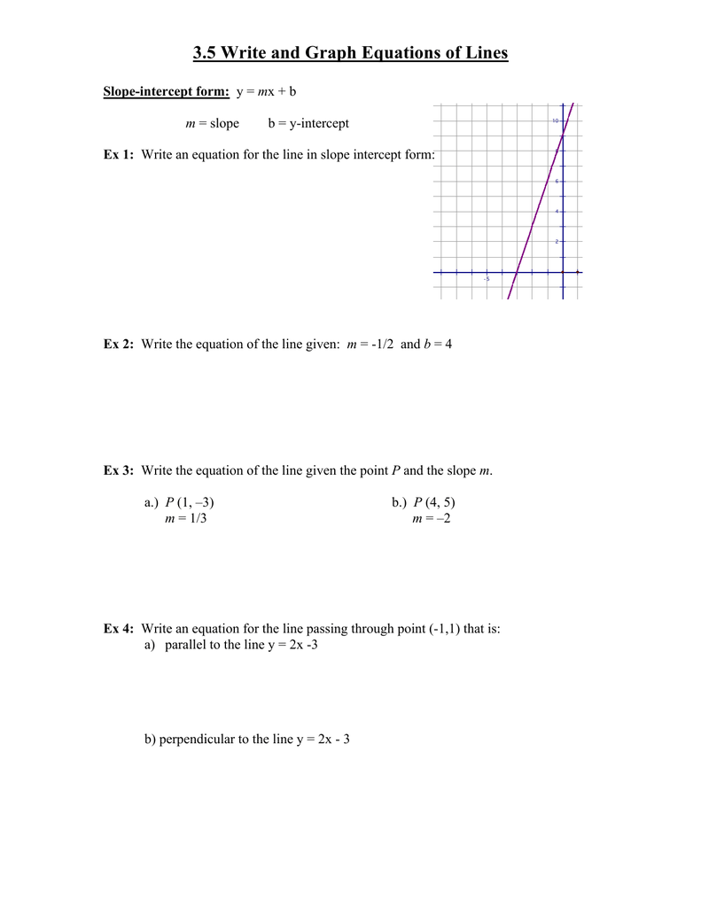35 Write And Graph Equations Of Lines Slope Intercept Form Ex 1