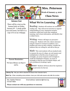 Mrs. Peterson Class News What We're Learning