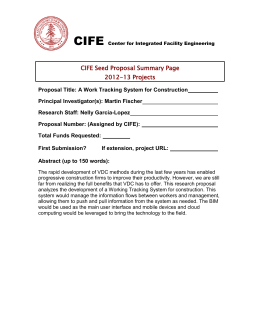 CIFE CIFE Seed Proposal Summary Page 2012-13 Projects
