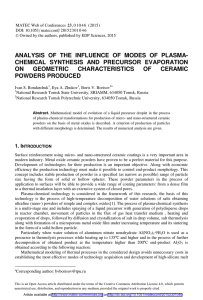 ANALYSIS OF THE INFLUENCE OF MODES OF PLASMA-