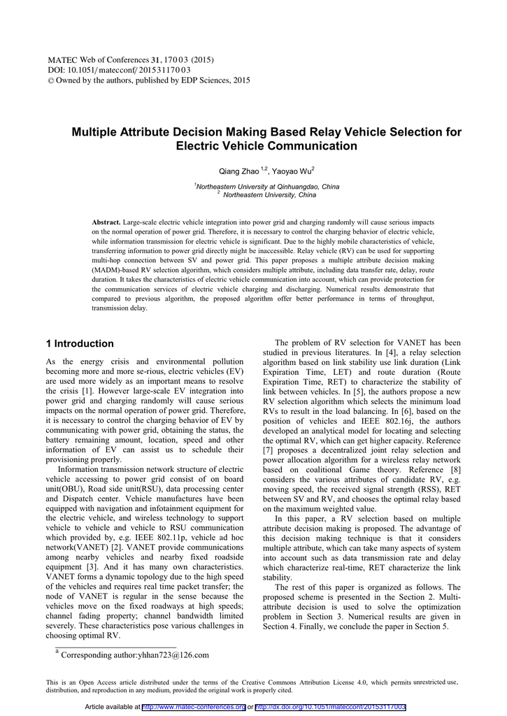Multiple Attribute Decision Making Based Relay Vehicle Selection - Relay vehicle selection