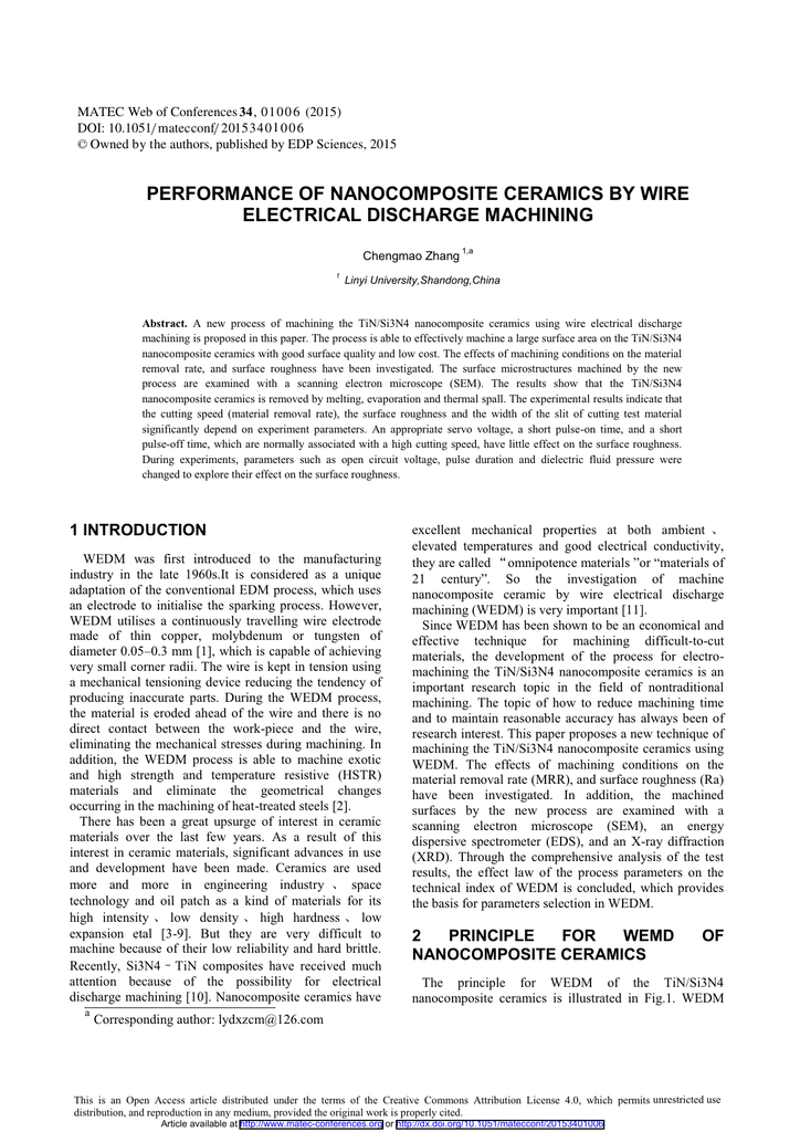 PERFORMANCE OF NANOCOMPOSITE CERAMICS BY WIRE