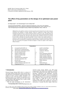 The effect of key parameters on the design of an... plant