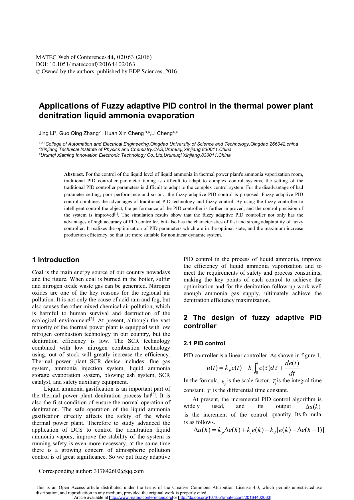 Applications of Fuzzy adaptive PID control in the thermal power