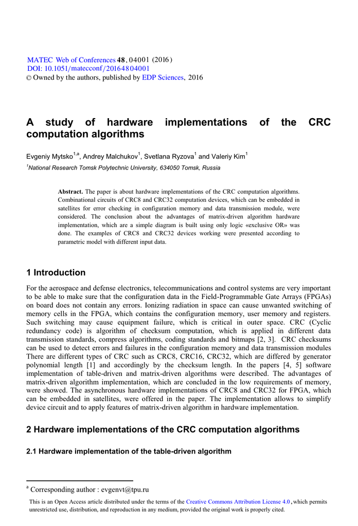 A study of hardware implementations of the CRC computation