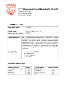 ST. THOMAS AQUINAS SECONDARY SCHOOL  COURSE OUTLINE 25 Corporation Drive