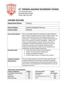ST. THOMAS AQUINAS SECONDARY SCHOOL  COURSE OUTLINE Department Name: