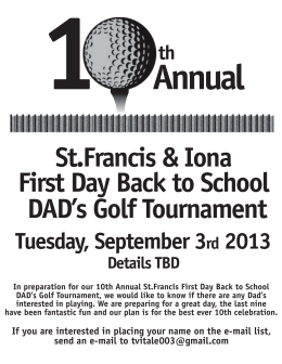 Annual St.Francis & Iona First Day Back to School DAD's Golf Tournament