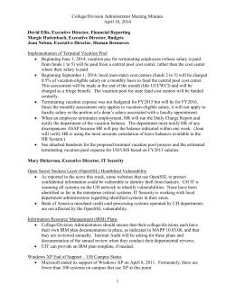 College/Division Administrator Meeting Minutes April 10, 2014