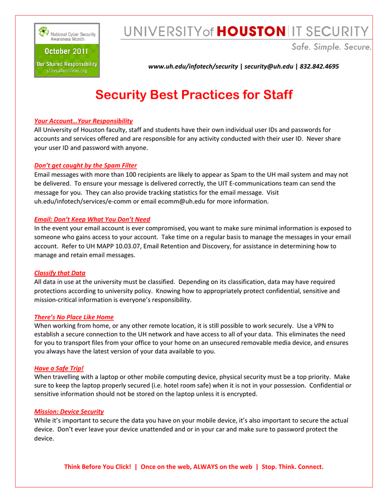 Security Best Practices for Staff