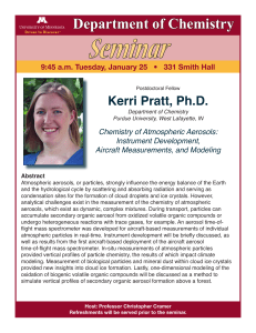 Seminar Department of Chemistry Kerri Pratt, Ph.D.