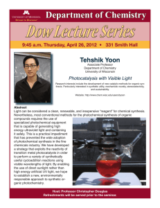 Dow Lecture Series Department of Chemistry Tehshik Yoon