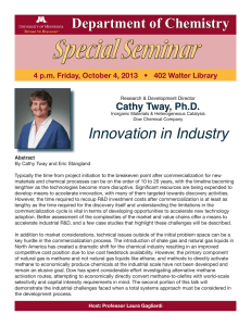 Special Seminar Innovation in Industry Department of Chemistry Cathy Tway, Ph.D.